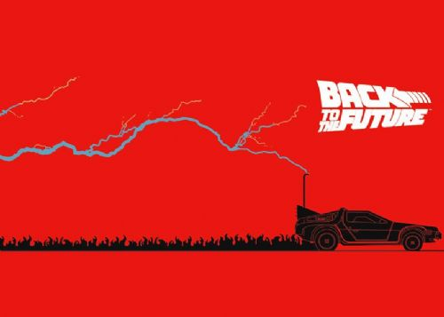 1980's Movie - BACK TO THE FUTURE - LIGHTNING RED/ canvas print - self adhesive poster - photo print